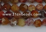 CAA1000 15.5 inches 6mm faceted nuggets red moss agate beads