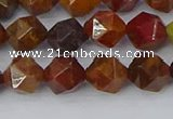 CAA1001 15.5 inches 8mm faceted nuggets red moss agate beads