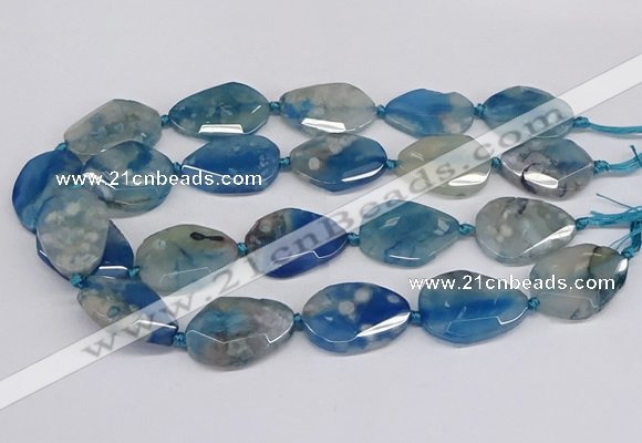 CAA1178 15.5 inches 22*30mm - 25*35mm faceted freeform sakura agate beads