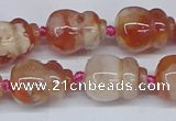 CAA1183 15.5 inches 15*20mm carved calabash sakura agate beads