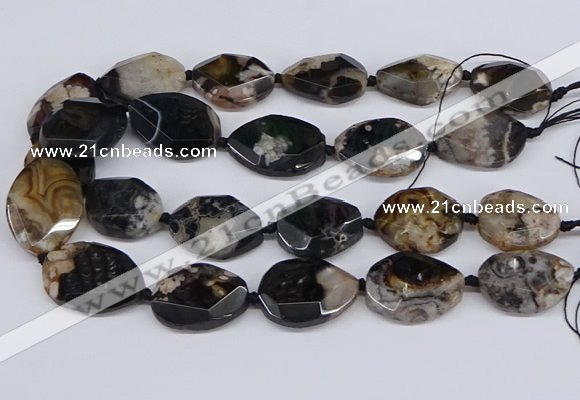 CAA1199 15.5 inches 20*25mm - 25*35mm faceted freeform sakura agate beads