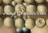 CAA1275 15.5 inches 6mm round matte plated druzy agate beads