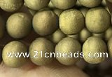 CAA1276 15.5 inches 6mm round matte plated druzy agate beads