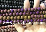 CAA1294 15.5 inches 8mm round matte plated druzy agate beads