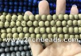 CAA1296 15.5 inches 8mm round matte plated druzy agate beads
