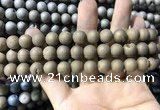 CAA1315 15.5 inches 10mm round matte plated druzy agate beads