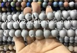 CAA1330 15.5 inches 12mm round matte plated druzy agate beads
