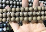 CAA1335 15.5 inches 12mm round matte plated druzy agate beads