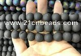 CAA1341 15.5 inches 12mm round matte plated druzy agate beads