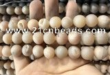 CAA1352 15.5 inches 14mm round matte plated druzy agate beads