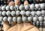 CAA1370 15.5 inches 16mm round matte plated druzy agate beads