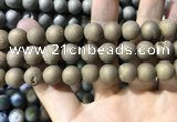 CAA1375 15.5 inches 16mm round matte plated druzy agate beads