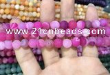 CAA1407 15.5 inches 8mm round matte druzy agate beads
