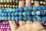 CAA1423 15.5 inches 10mm round matte druzy agate beads