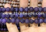 CAA1451 15.5 inches 14mm round matte druzy agate beads