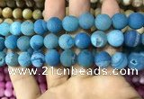 CAA1453 15.5 inches 14mm round matte druzy agate beads