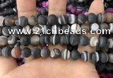 CAA1482 15.5 inches 10mm round matte banded agate beads wholesale