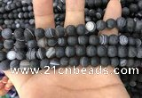 CAA1486 15.5 inches 8mm round matte banded agate beads wholesale