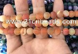 CAA1492 15.5 inches 10mm round matte banded agate beads wholesale