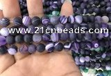 CAA1495 15.5 inches 6mm round matte banded agate beads wholesale