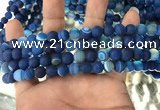 CAA1505 15.5 inches 6mm round matte banded agate beads wholesale