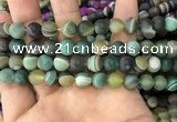 CAA1522 15.5 inches 10mm round matte banded agate beads wholesale