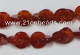 CAA153 15.5 inches 12*12mm curved moon red agate gemstone beads