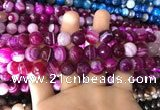 CAA1658 15.5 inches 12mm faceted round banded agate beads