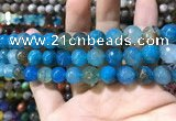 CAA1736 15 inches 10mm faceted round fire crackle agate beads