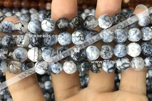 CAA1746 15 inches 12mm faceted round fire crackle agate beads