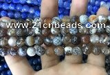 CAA1747 15 inches 12mm faceted round fire crackle agate beads