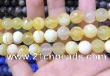 CAA1748 15 inches 12mm faceted round fire crackle agate beads