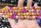 CAA1767 15 inches 8mm faceted round fire crackle agate beads