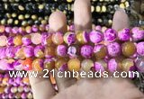 CAA1783 15 inches 10mm faceted round fire crackle agate beads