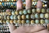 CAA1786 15 inches 10mm faceted round fire crackle agate beads