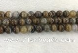 CAA1825 15.5 inches 14mm round banded agate gemstone beads