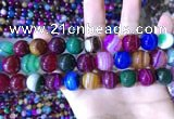 CAA2035 15.5 inches 14mm round banded agate gemstone beads