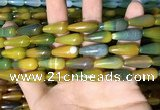 CAA2052 15.5 inches 8*20mm teardrop agate beads wholesale