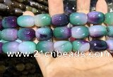 CAA2147 15.5 inches 13*18mm faceted drum agate beads wholesale