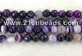 CAA2216 15.5 inches 14mm faceted round banded agate beads