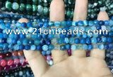 CAA2249 15.5 inches 4mm faceted round banded agate beads