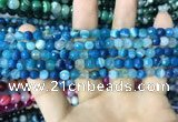 CAA2250 15.5 inches 6mm faceted round banded agate beads