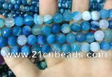 CAA2253 15.5 inches 12mm faceted round banded agate beads