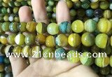CAA2274 15.5 inches 12mm faceted round banded agate beads