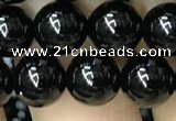 CAA2405 15.5 inches 10mm round black agate beads wholesale
