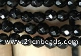 CAA2414 15.5 inches 3mm faceted round black agate beads wholesale