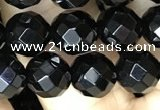 CAA2417 15.5 inches 8mm faceted round black agate beads wholesale