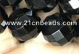 CAA2423 15.5 inches 20mm faceted round black agate beads wholesale