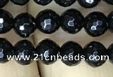 CAA2426 15.5 inches 6mm faceted round black agate beads wholesale
