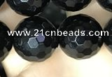 CAA2432 15.5 inches 18mm faceted round black agate beads wholesale